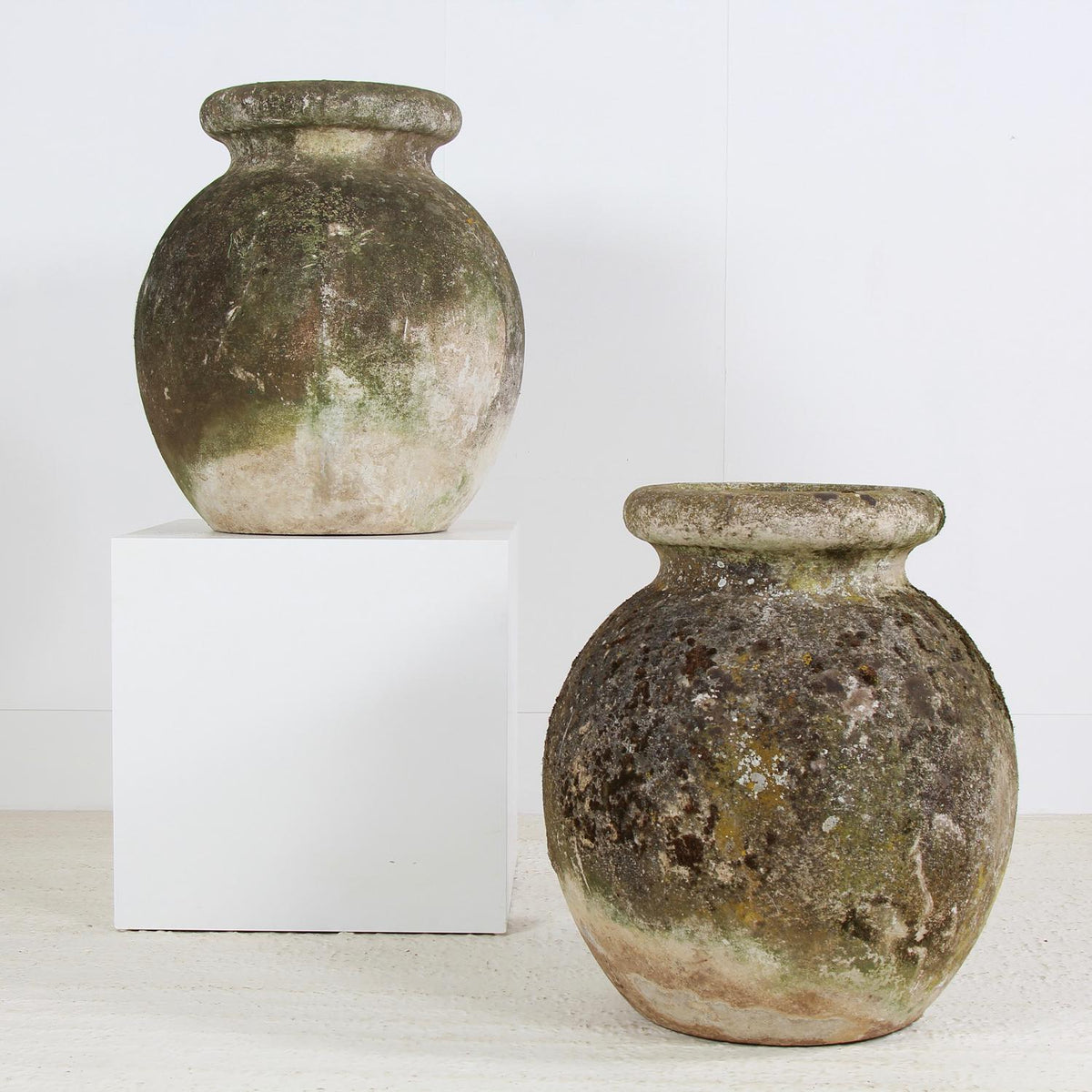 Impressive Pair of  French 20thC  Weathered Concrete Pots
