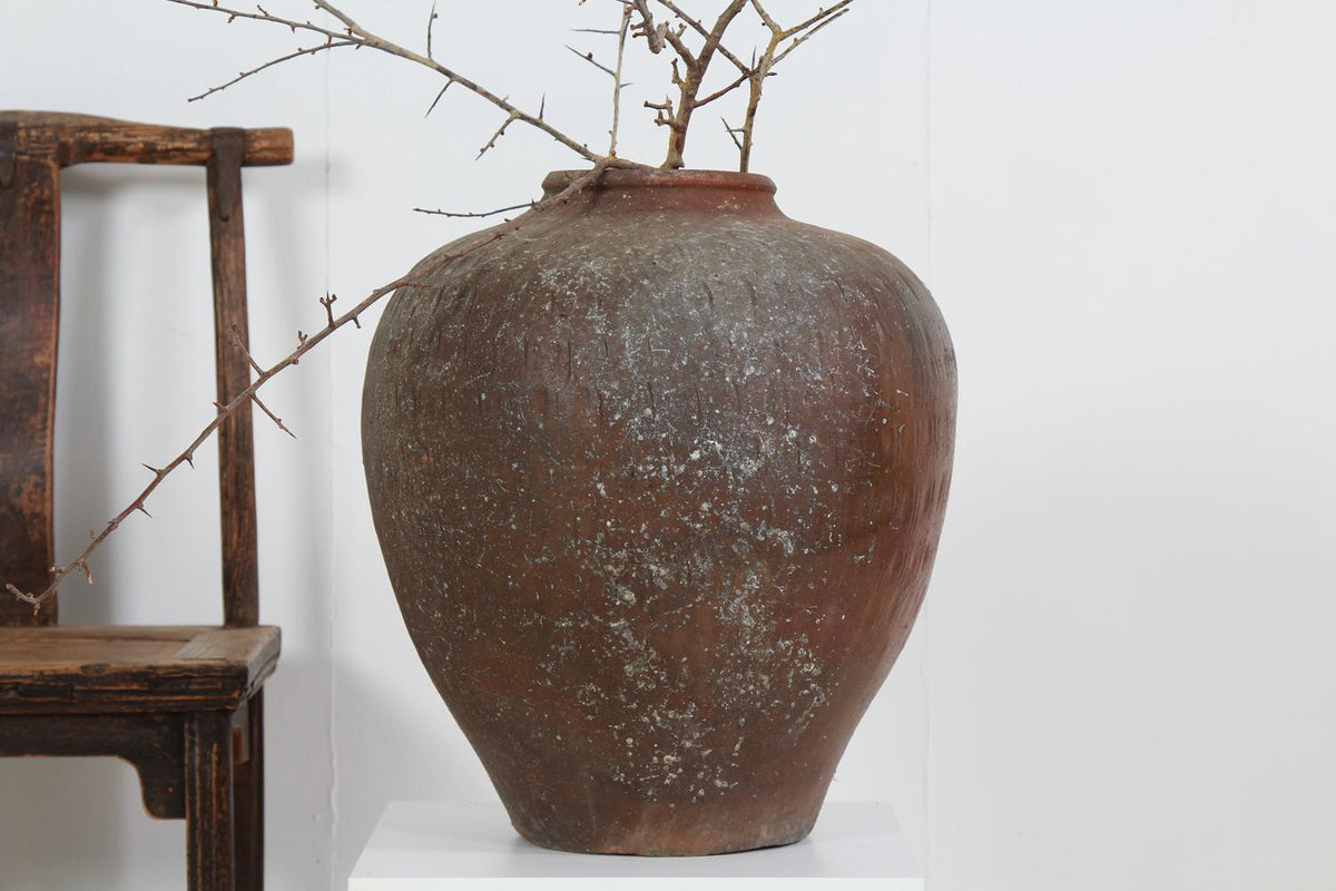 ORGANIC CHINESE GLAZED WABI-SABI WINE STORAGE JAR