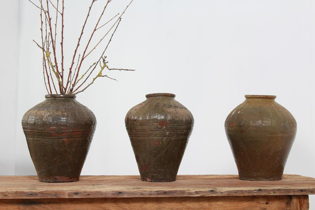 COLLECTION OF THREE  WABI SABI EARLY 20THC CHINESE STONEWARE GLAZED POTS
