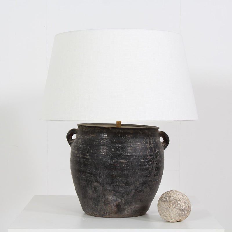 STYLISH BLACK  POTTERY LAMP WITH WHITE LINEN DRUM SHADE