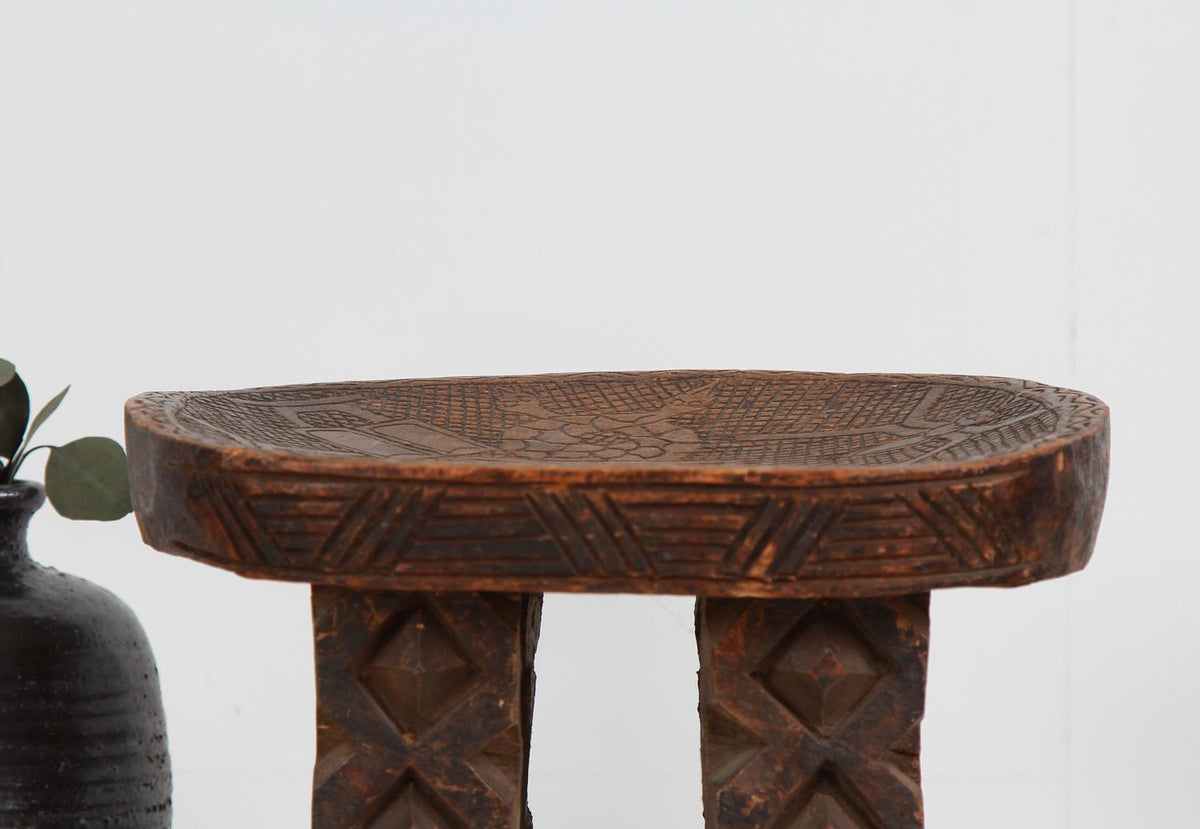 African 20thC Tribal Carved Stool From Cameroon