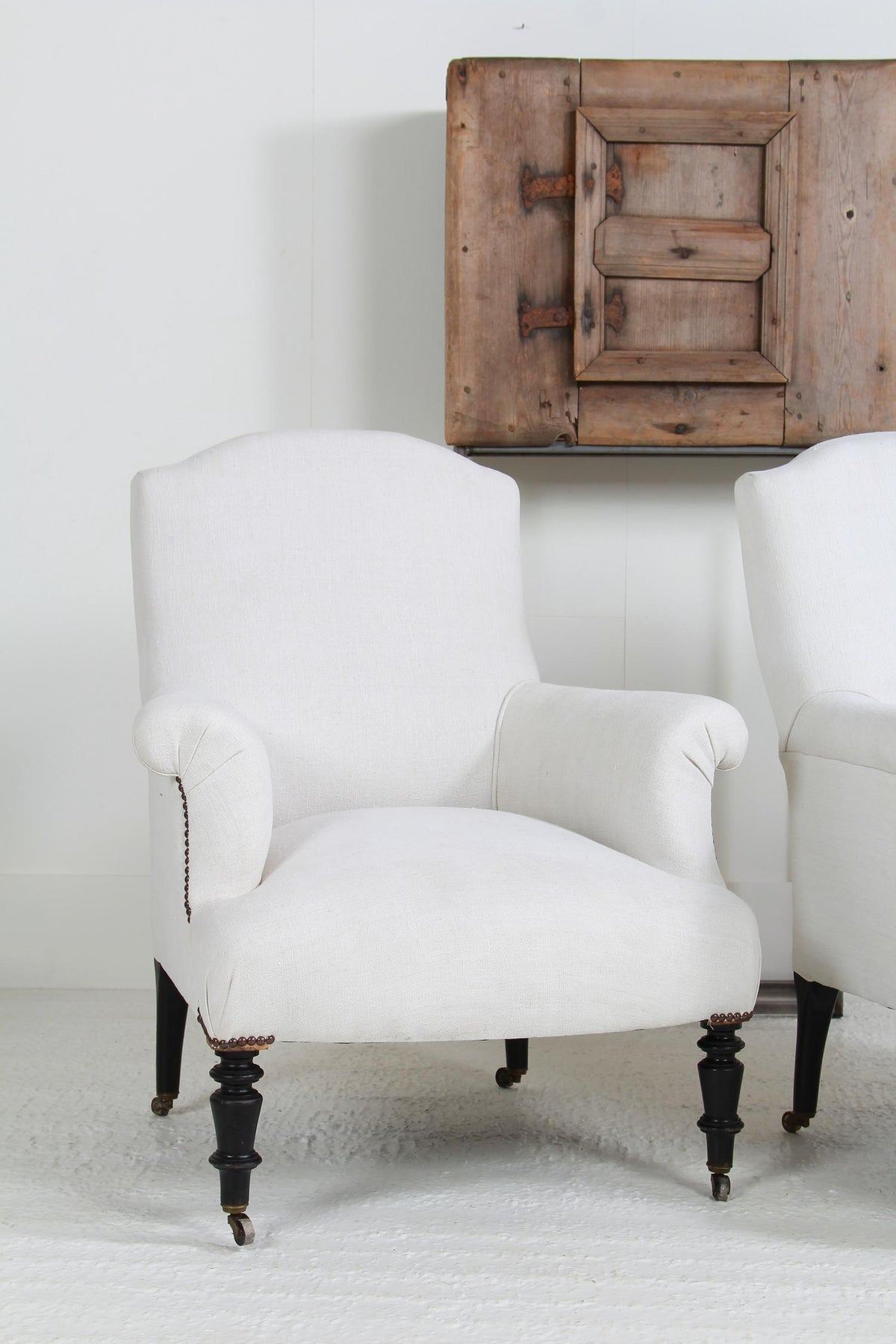 Beautiful Pair of French 19thC  Armchairs in Antique Linen