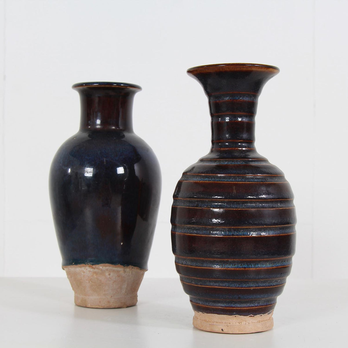 COLLECTION OF TWO DELICATE  GLAZED CERAMIC CHINESE  VASES