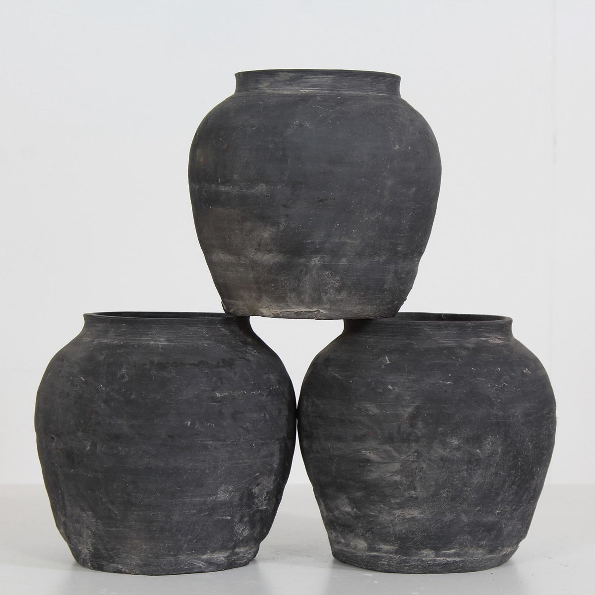 Set of Three Charming Chinese Han Dynasty Style Unglazed Pots