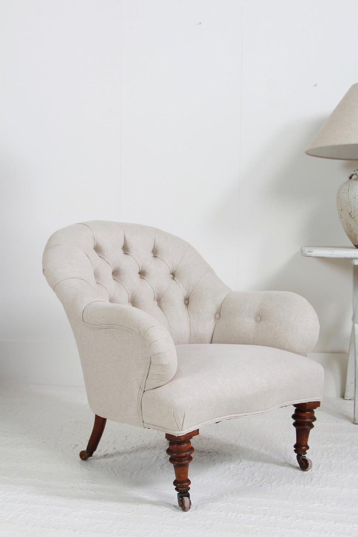 Fabulous English  19thC Button Back Armchair