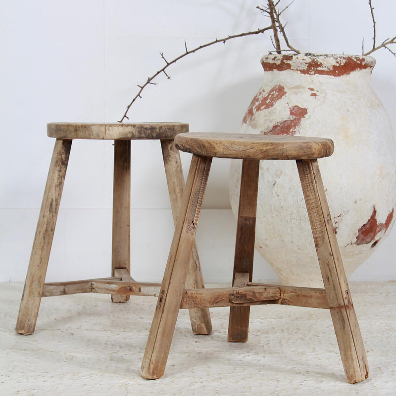 PRIMITIVE 19THC CENTURY THREE-LEGGED PINE STOOLS/TABLES