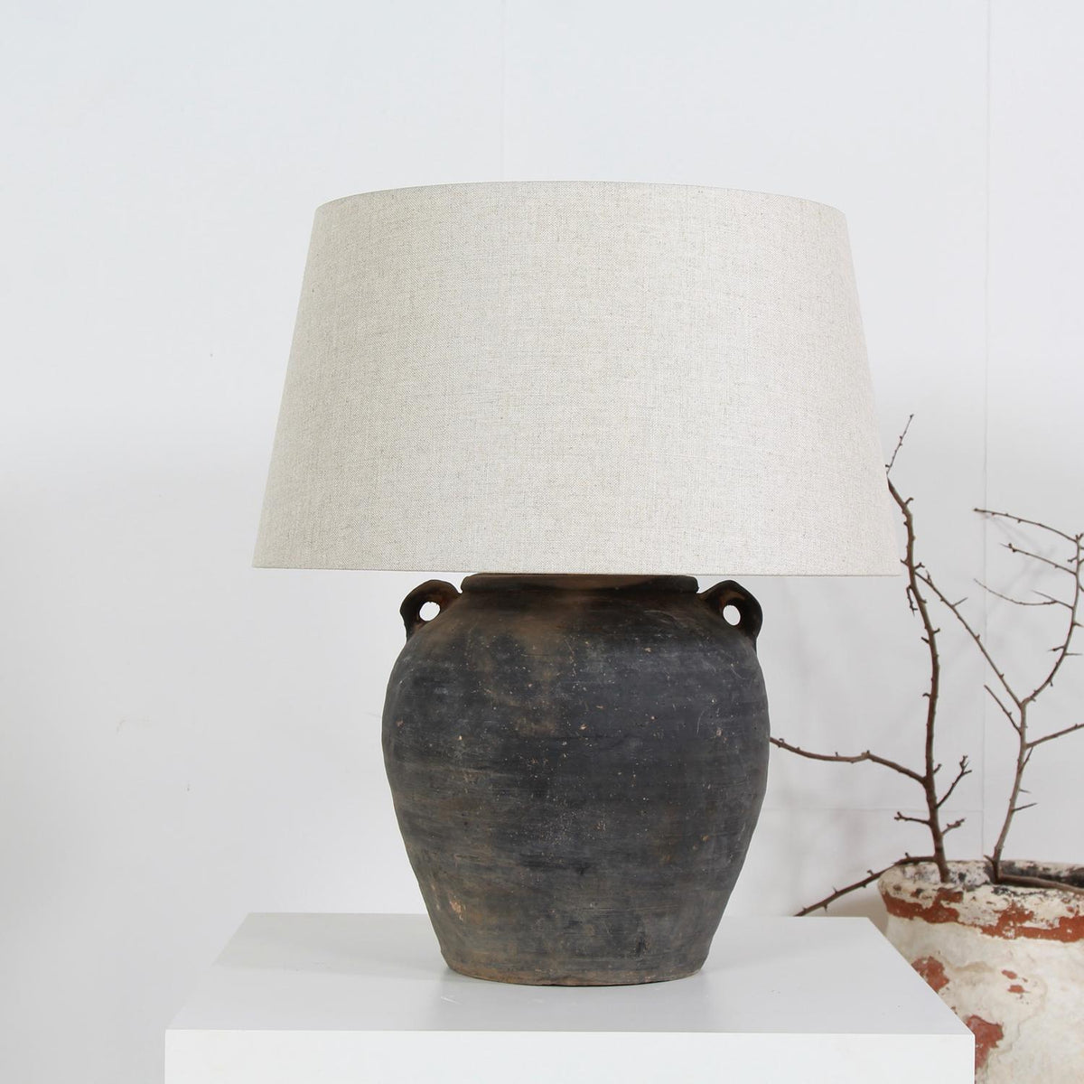 AUTHENTIC UNGLAZED STORAGE JAR CONVERTED Into LAMP WITH NATURAL LINEN SHADE