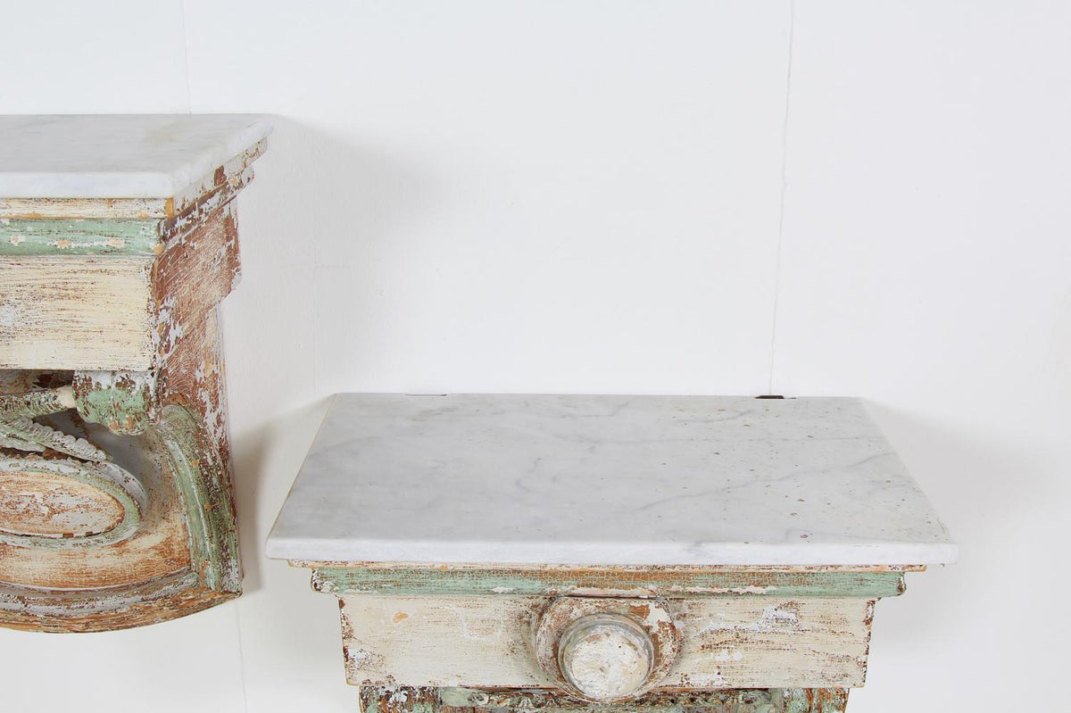 Pair of  French 19thC Decorative Marble and Wood Wall Mounted Consoles