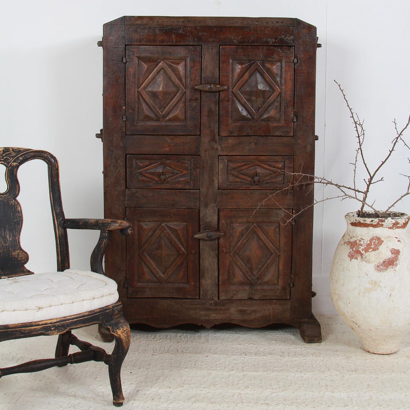 Primitive 18th Century Spanish Oak Cabinet