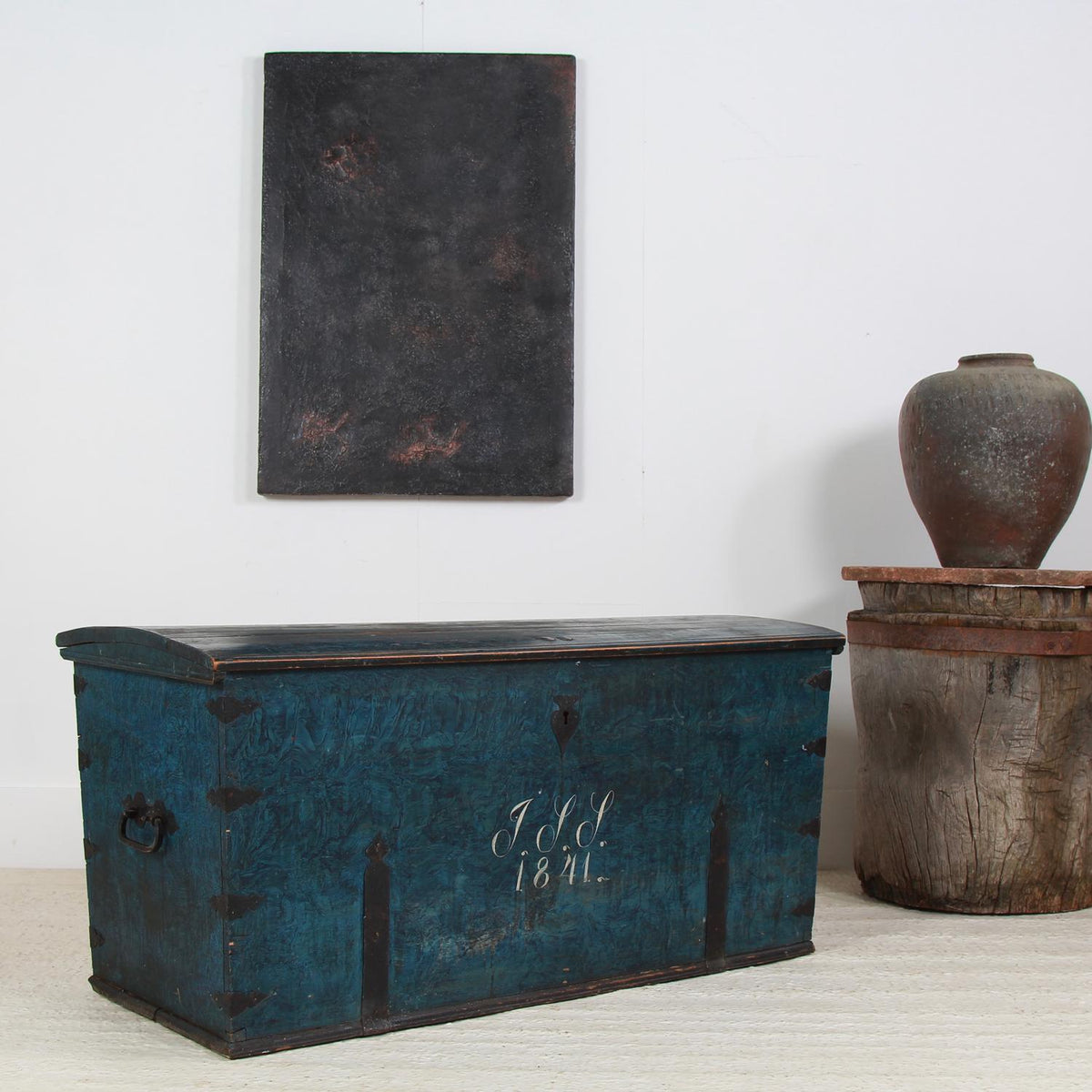 Exceptionally Large Swedish Original Hand Painted Marriage Trunk Dated 1841