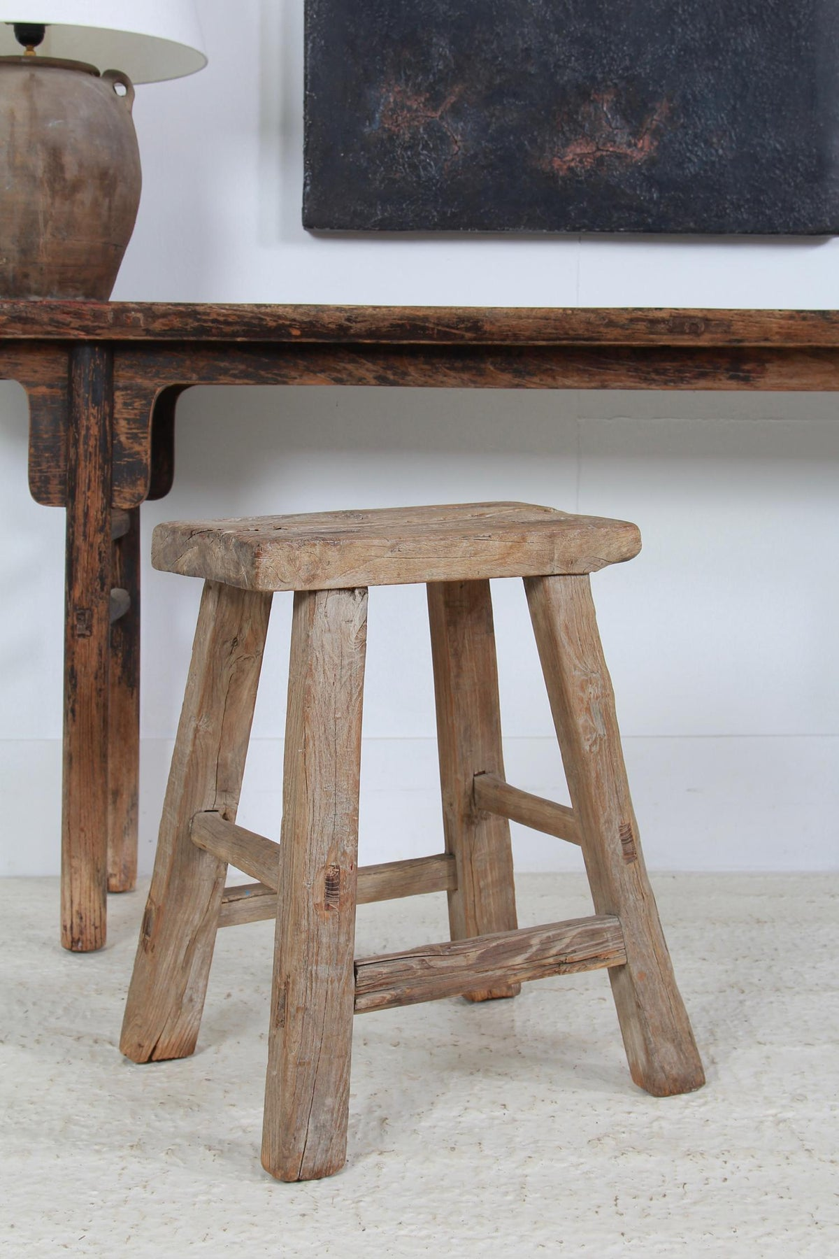RUSTIC & GNARLY WEATHERED ELM WORKERS STOOL
