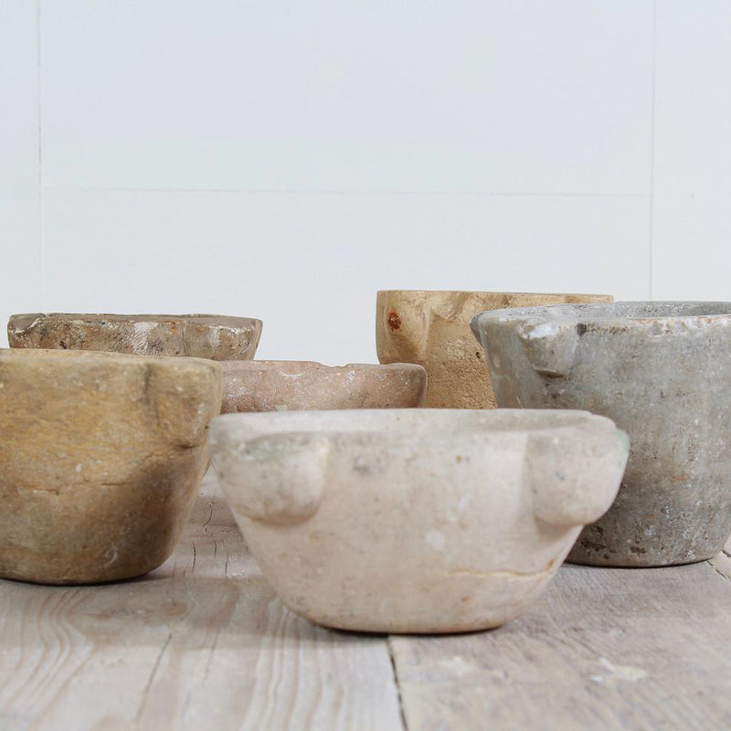 Collection of 18th Century  French Stone & Marble Mortars