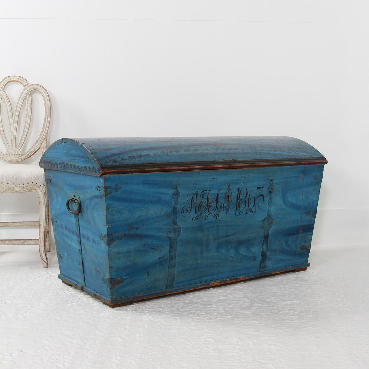 Swedish Original Painted Dome-Top Wedding Trunk, Dated 1863