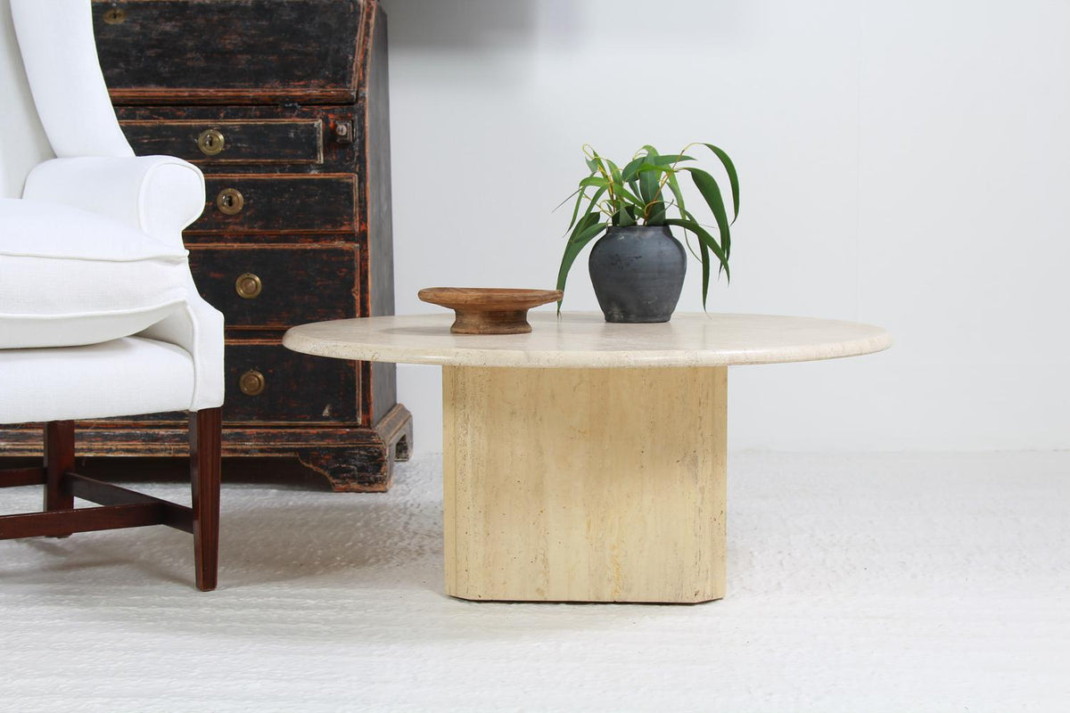 Circular Italian Travertine Coffee Table