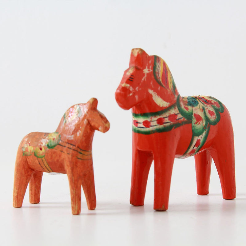 Two Vintage  Swedish Dala Horses