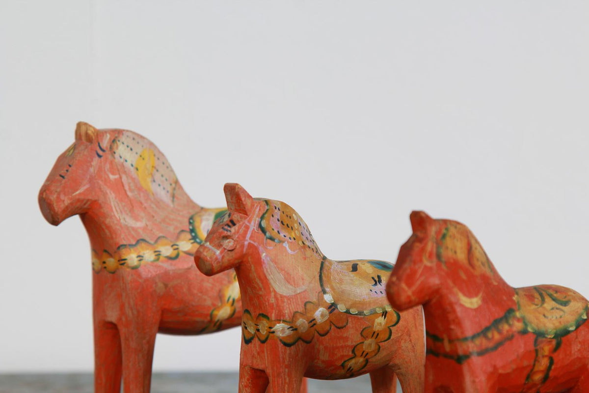 Set of Three Hand Painted Swedish 20thC Dala Horses