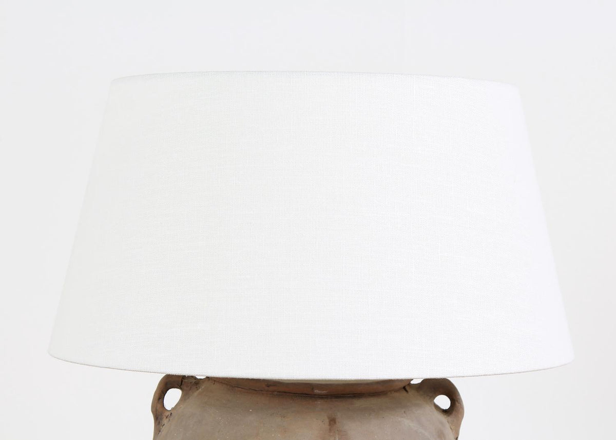 CHINESE  POTTERY LAMP WITH WHITE  LINEN BELGIUM DRUM SHADE