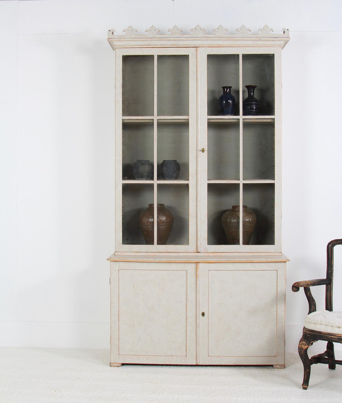 Classical Swedish 19th Century Painted  Glazed Bookcase