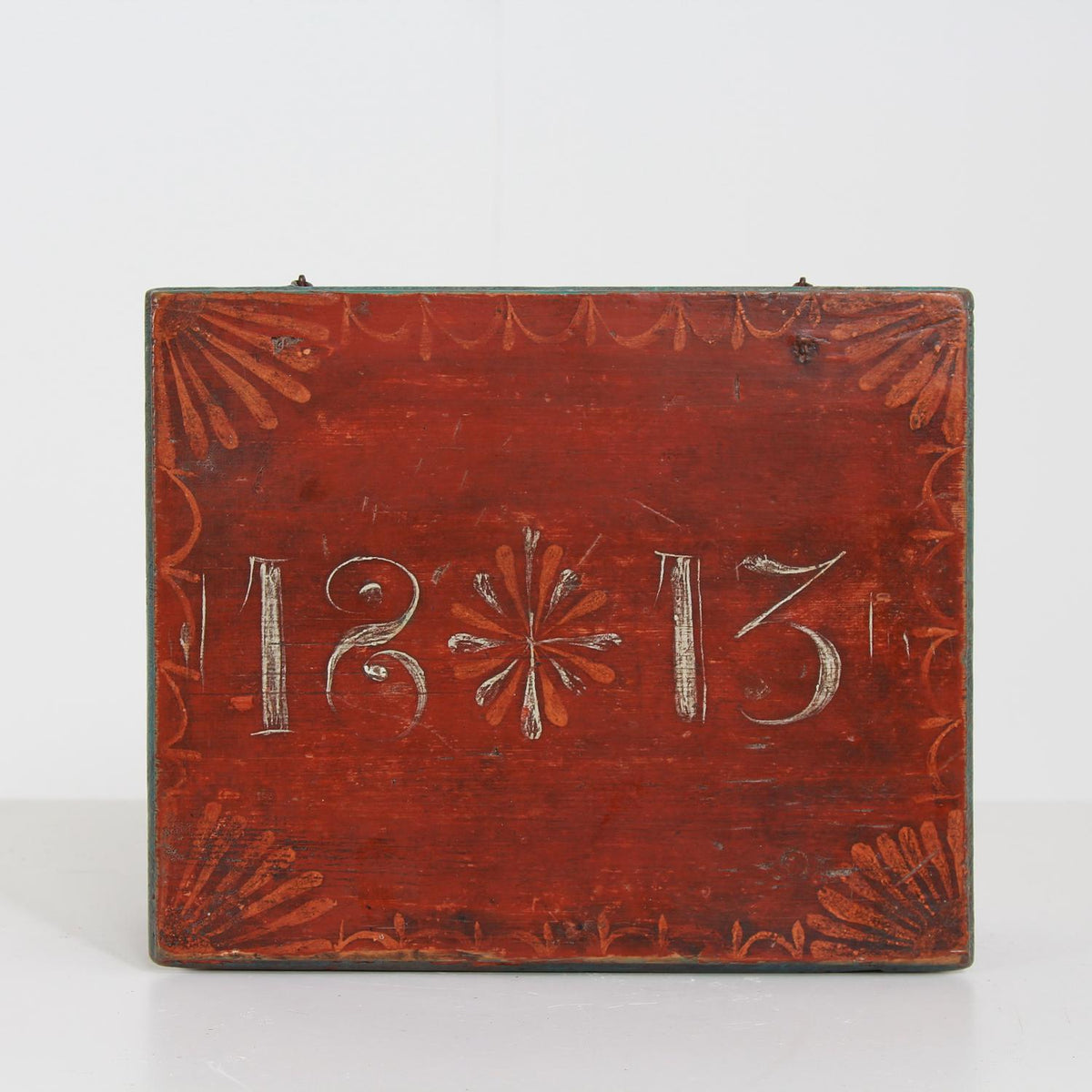 Early Swedish 19th Century Wooden Folk Art Box  Dated 1813