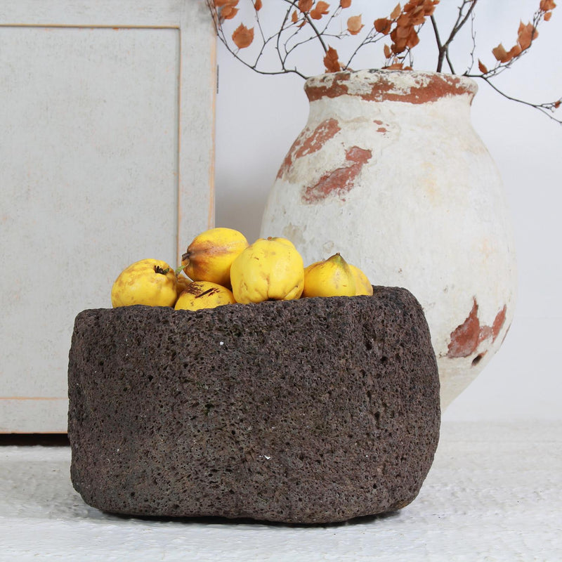 ORGANIC  HAND CARVED VOLCANIC ROCK TROUGH/PLANTER