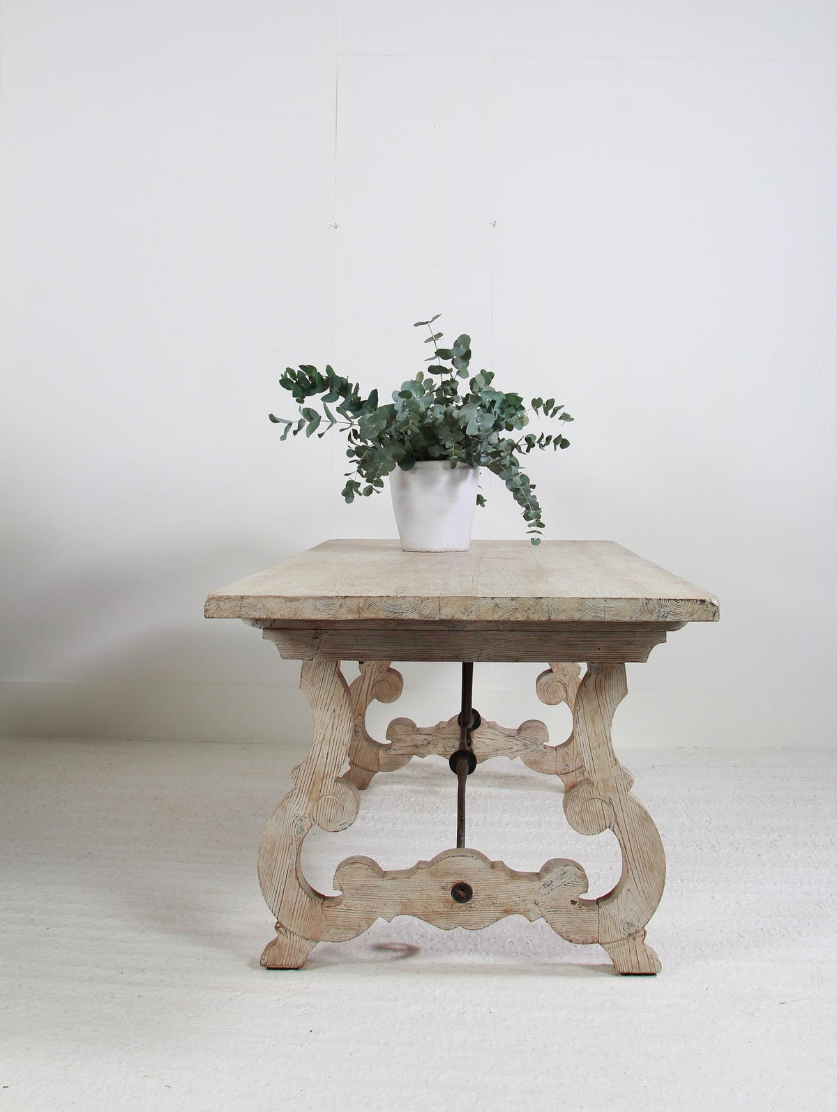 Spanish 19thC Pine  Dining Table with Hand Forged Iron Stretcher