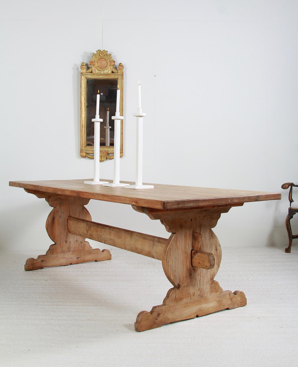 Swedish 19thC Farmhouse Trestle  Table