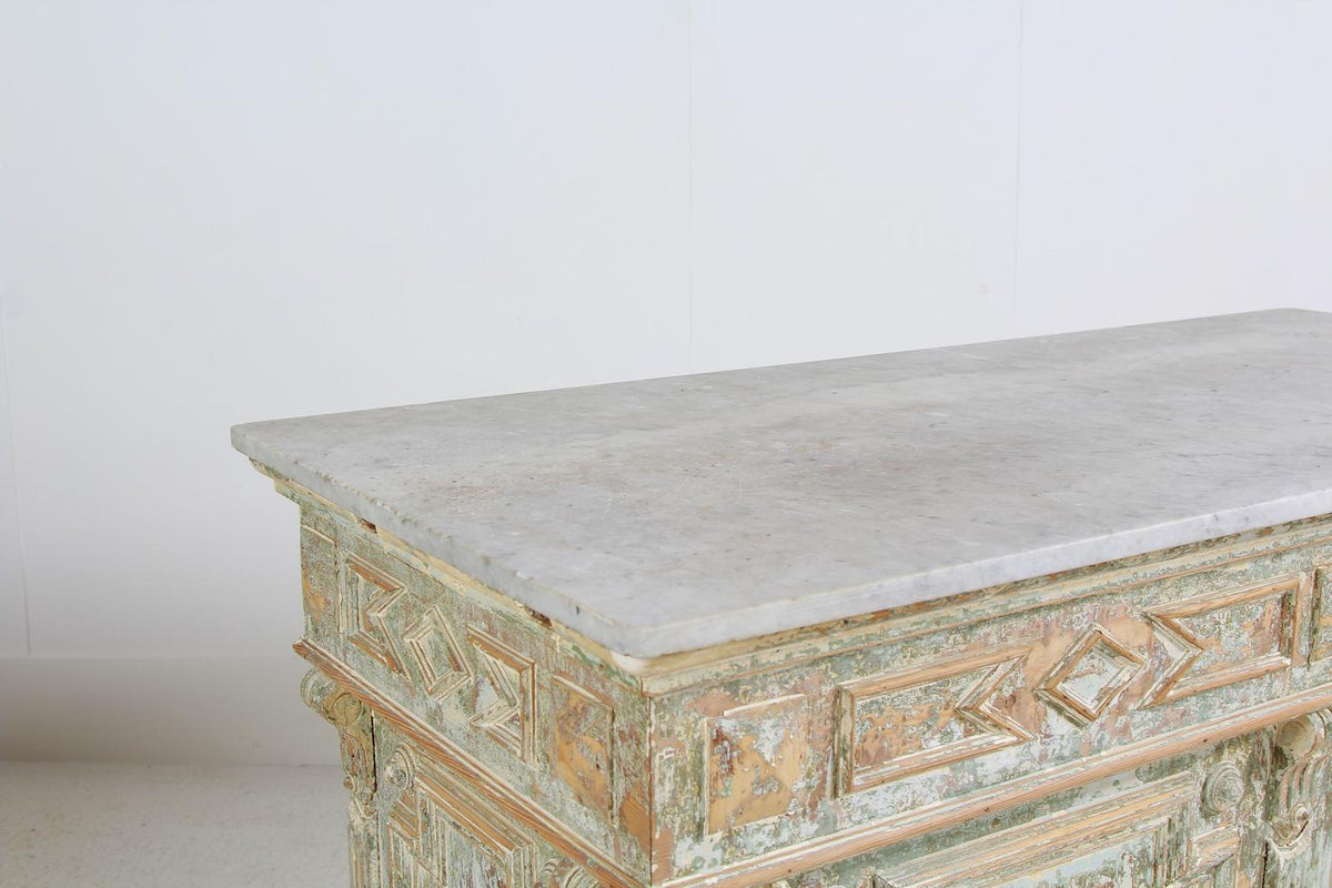 Original French 19thC Marble Top Boulangerie Counter
