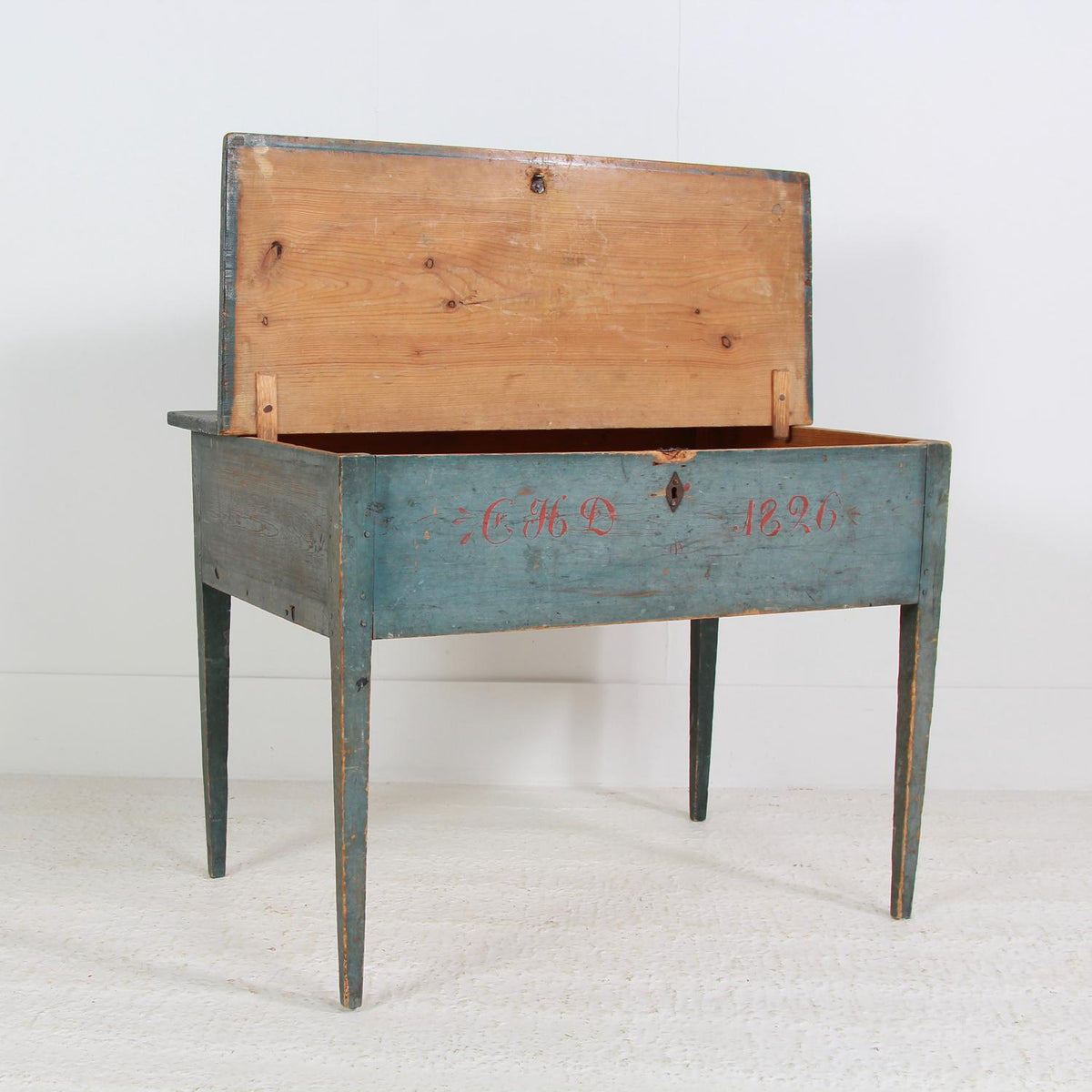 Swedish 19thC Blue Painted Side/lamp Table Dated 1826