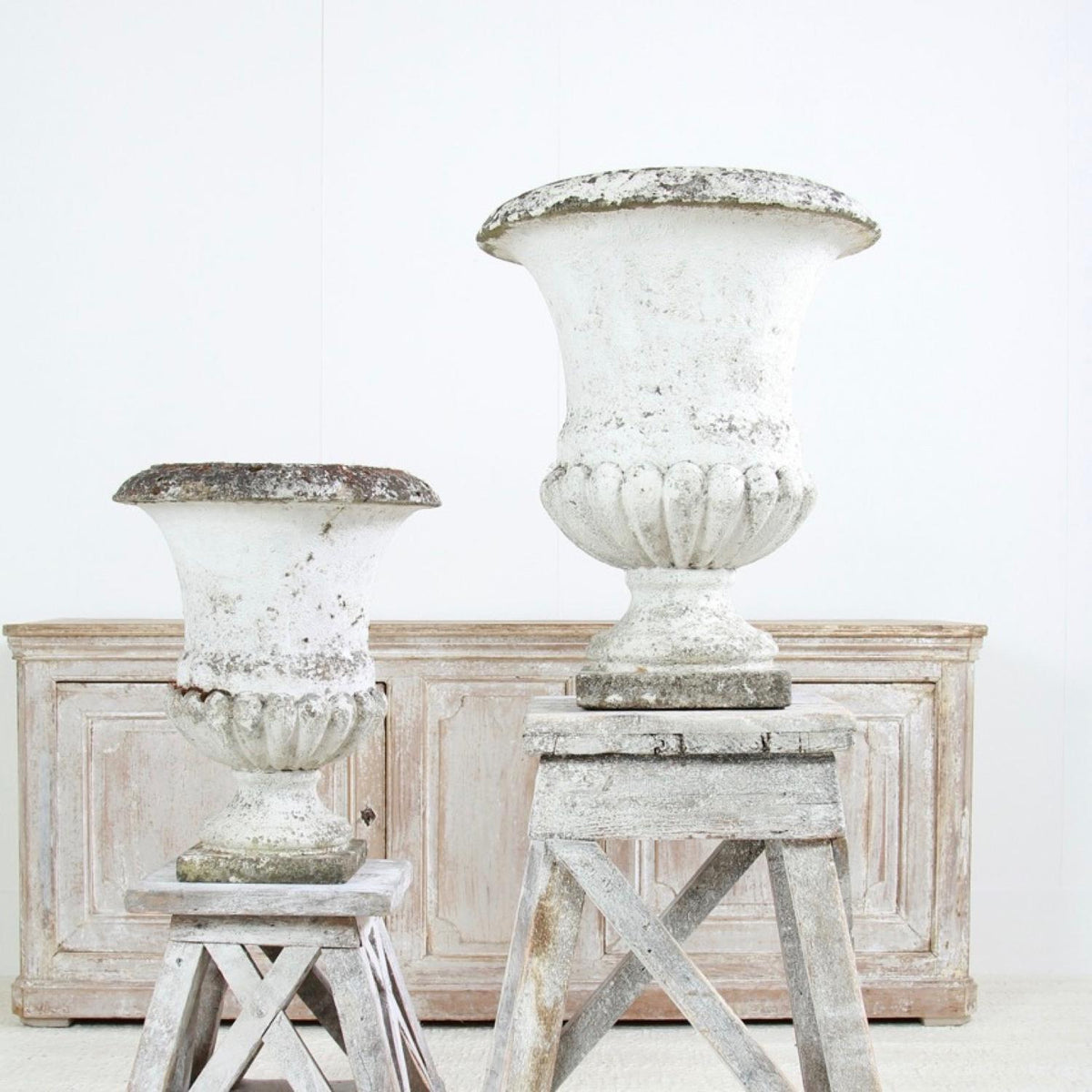 Pair of Large French 20thC Stone Composite Urns