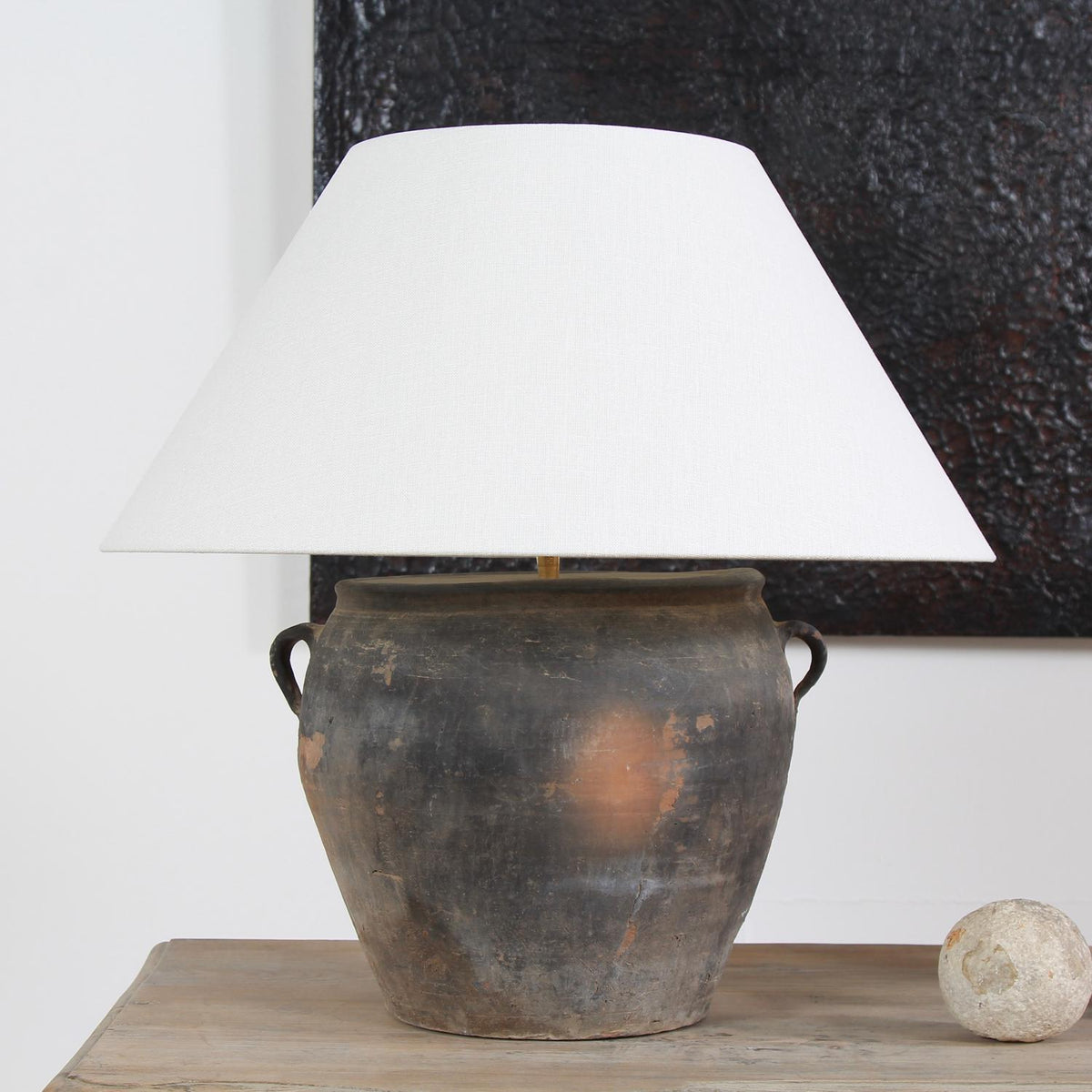 AUTHENTIC TERRACOTTA POTTERY LAMP WITH WHITE  LINEN SHADE