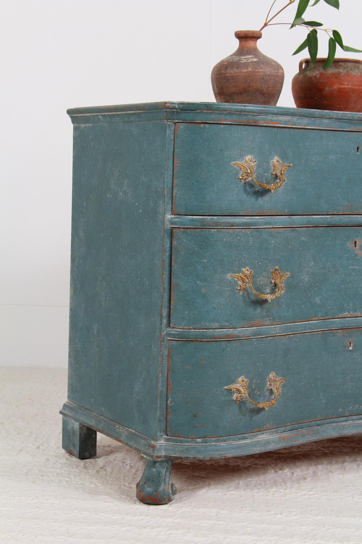 Striking Painted French 19thC  Serpentine Commode