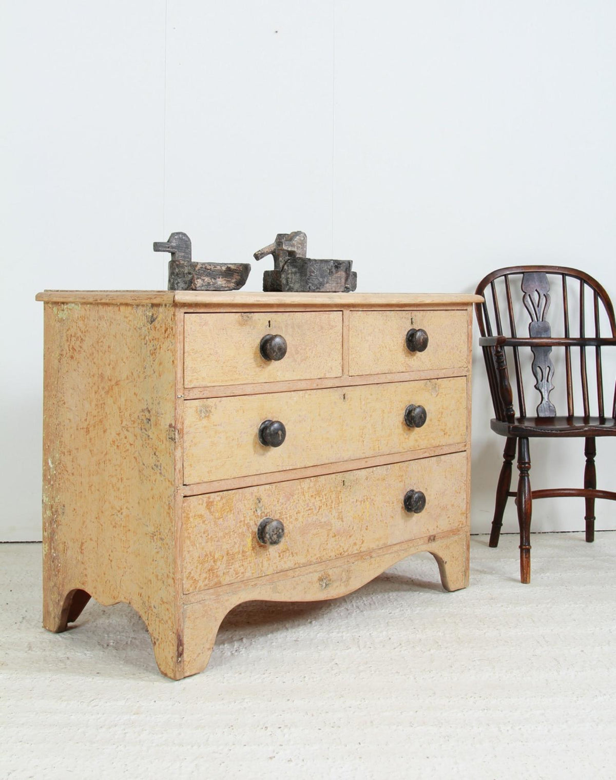 Delightful English 19thC Country house Painted Chest Of Drawers