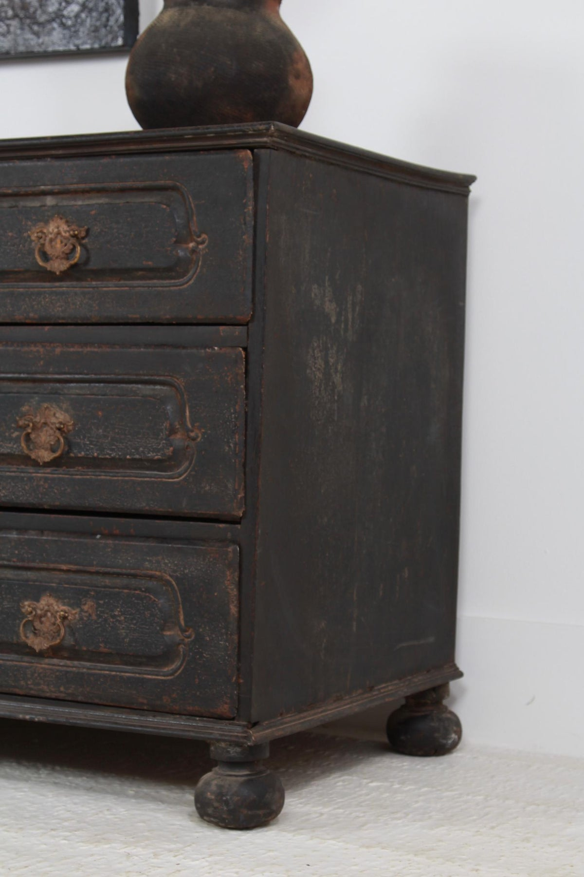 A Large 18thC French Oak Painted Chest of Drawers
