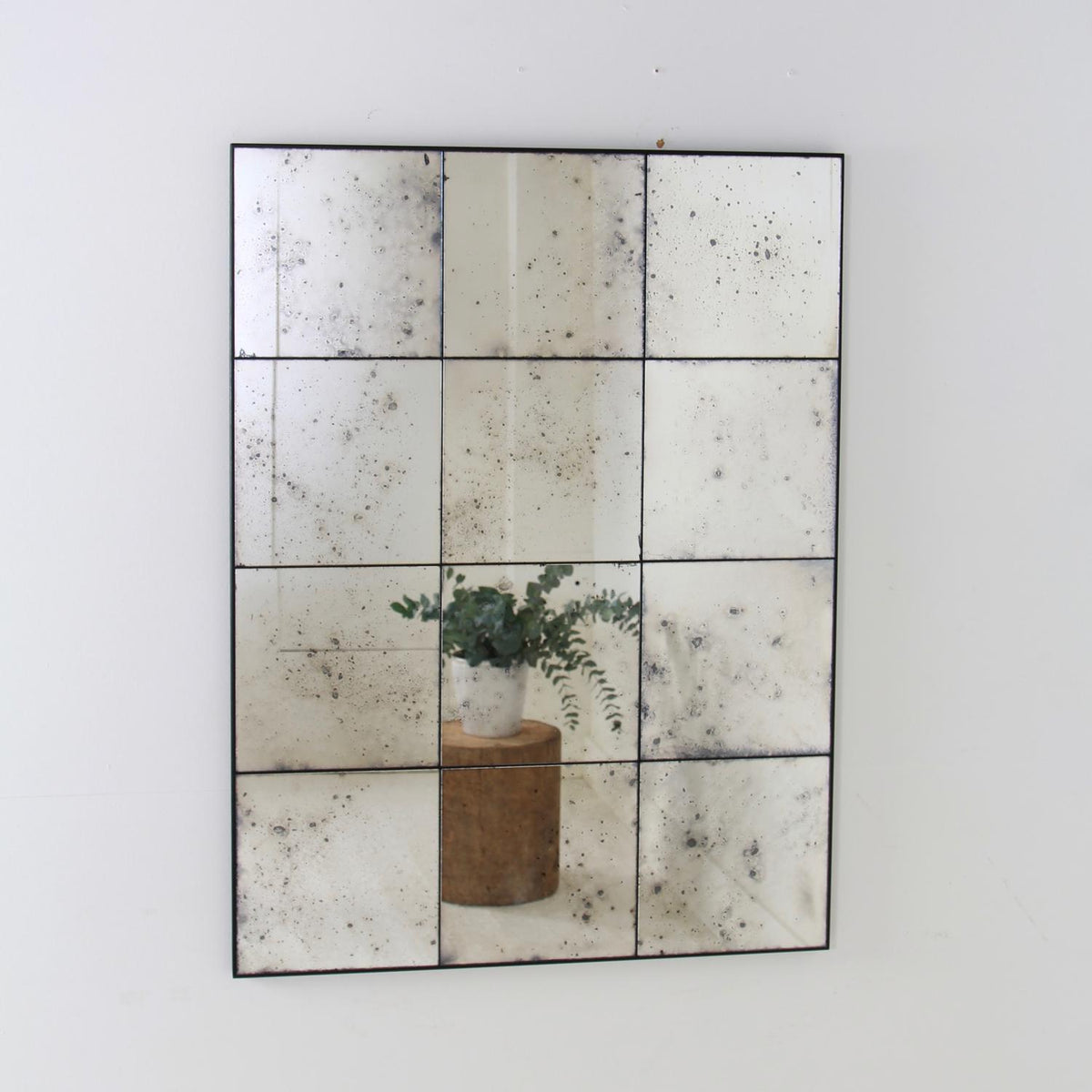 Hand Silvered Antiqued Frameless  Panelled Foxed Mirror