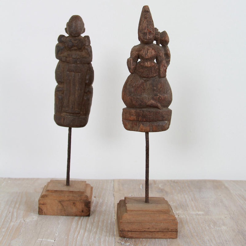 Pair of 19thC Carved Wood Hindu Temple Fragments