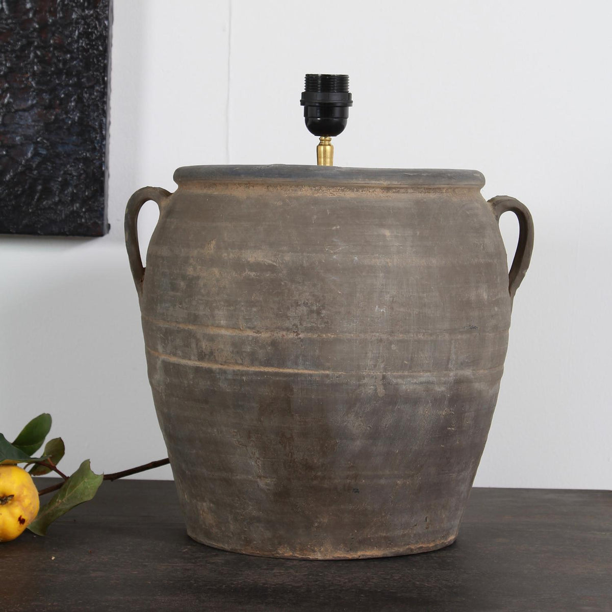 AUTHENTIC CHINESE WINE STORAGE JAR CONVERTED INTO LAMP WITH SHADE