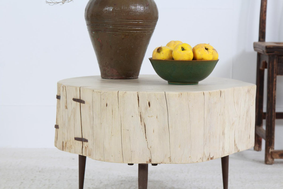 IMPRESSIVE RUSTIC ELM TREE TRUNK  SLAB COFFEE TABLE