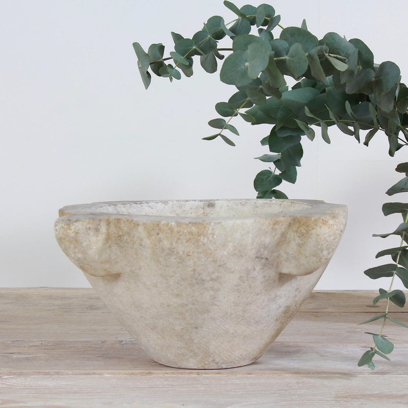 Large 18th Century French White Marble Mortar
