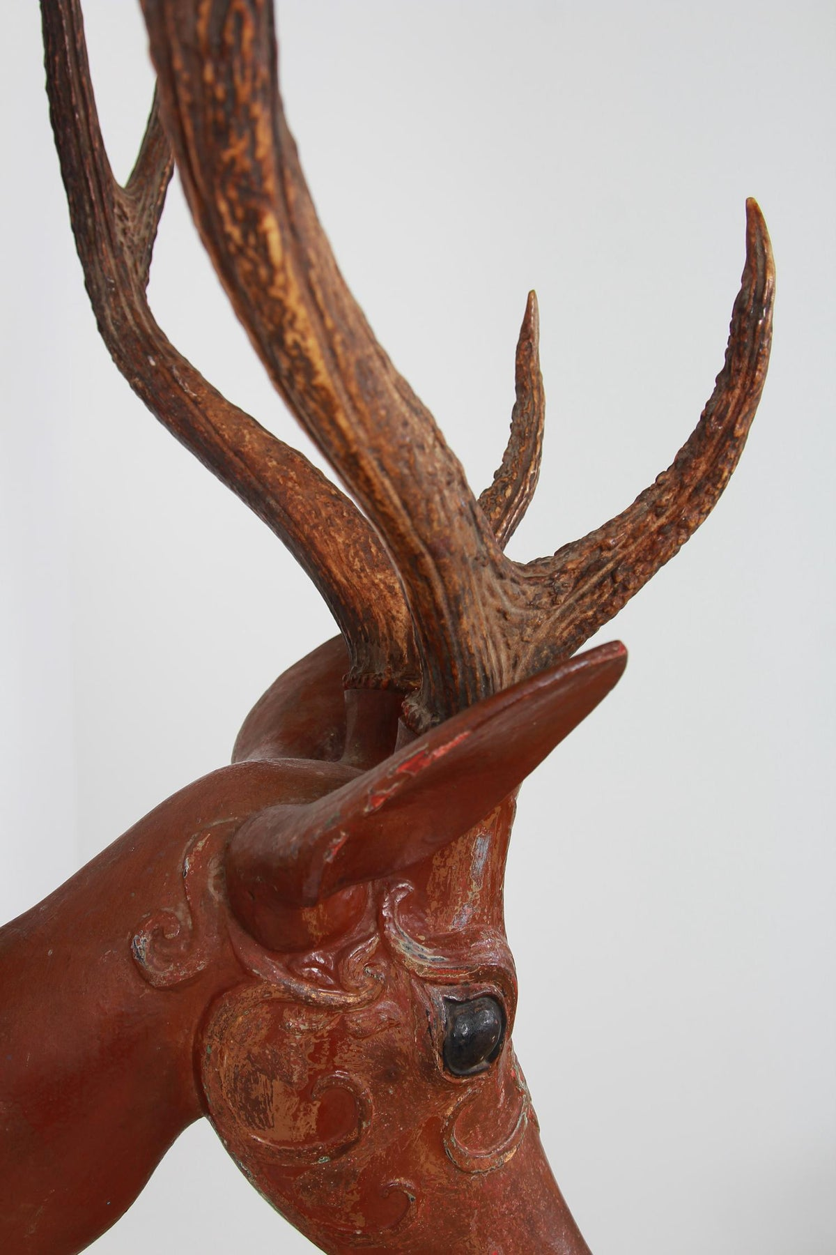 Finely Carved Indian Folk Art 19thC  Wooden Deer Head with Antlers