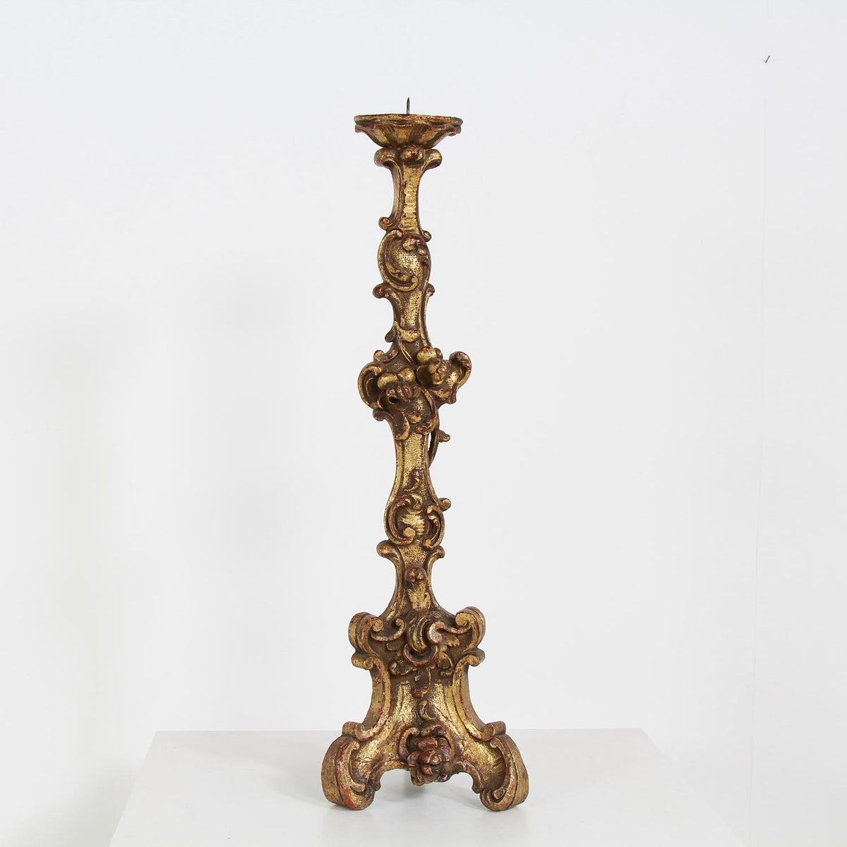 Italian 18thC Carved Wood Baroque Candlestick