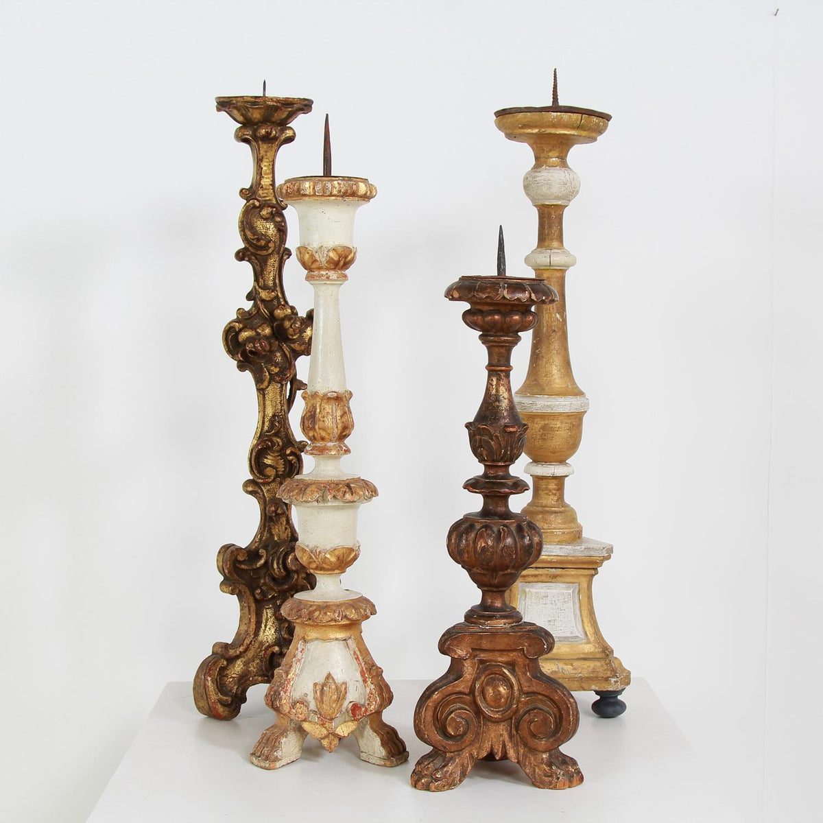 A finely Carved Italian Early  19thC Pricket Candlestick