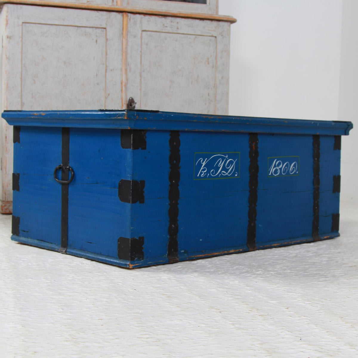 Original Striking Blue Painted Swedish 19thC  Bridal Folk Art Trunk