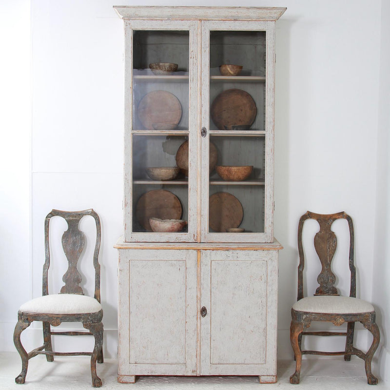 Swedish 19thC  Gustavian Style Two-Door Painted Glazed Cabinet