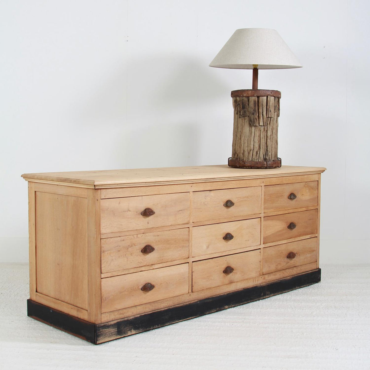 Outstanding French 20thC Bleached Oak Bank of Drawers