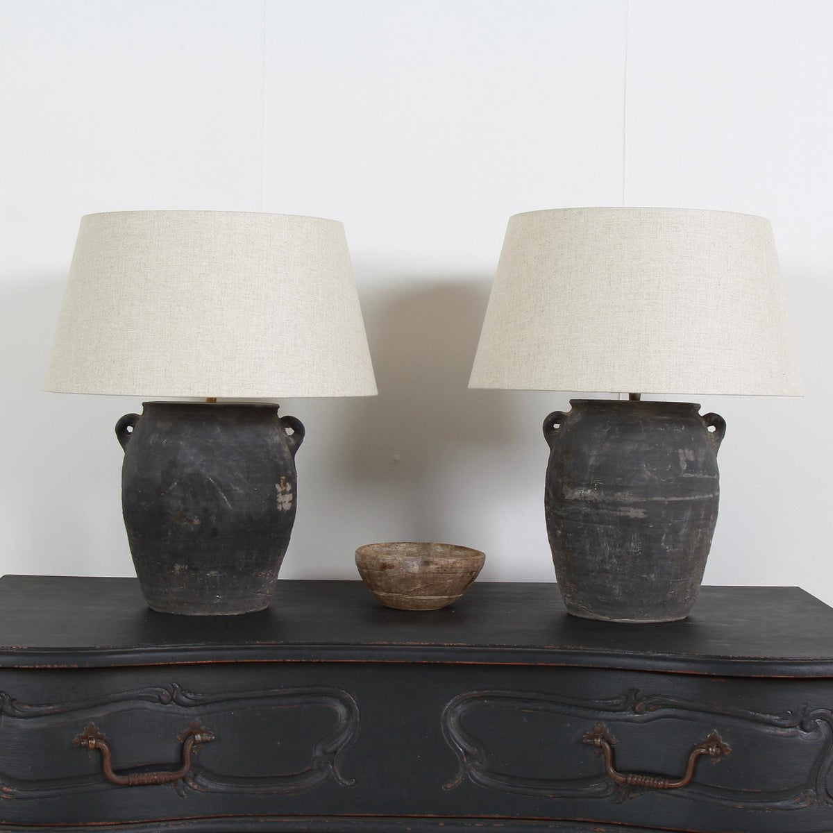 Near Pair of Chinese Lamps with Handmade Belgian Linen Shades