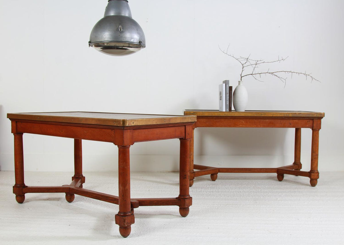 Pair of French 20thC  Banque De France Oak  Desks