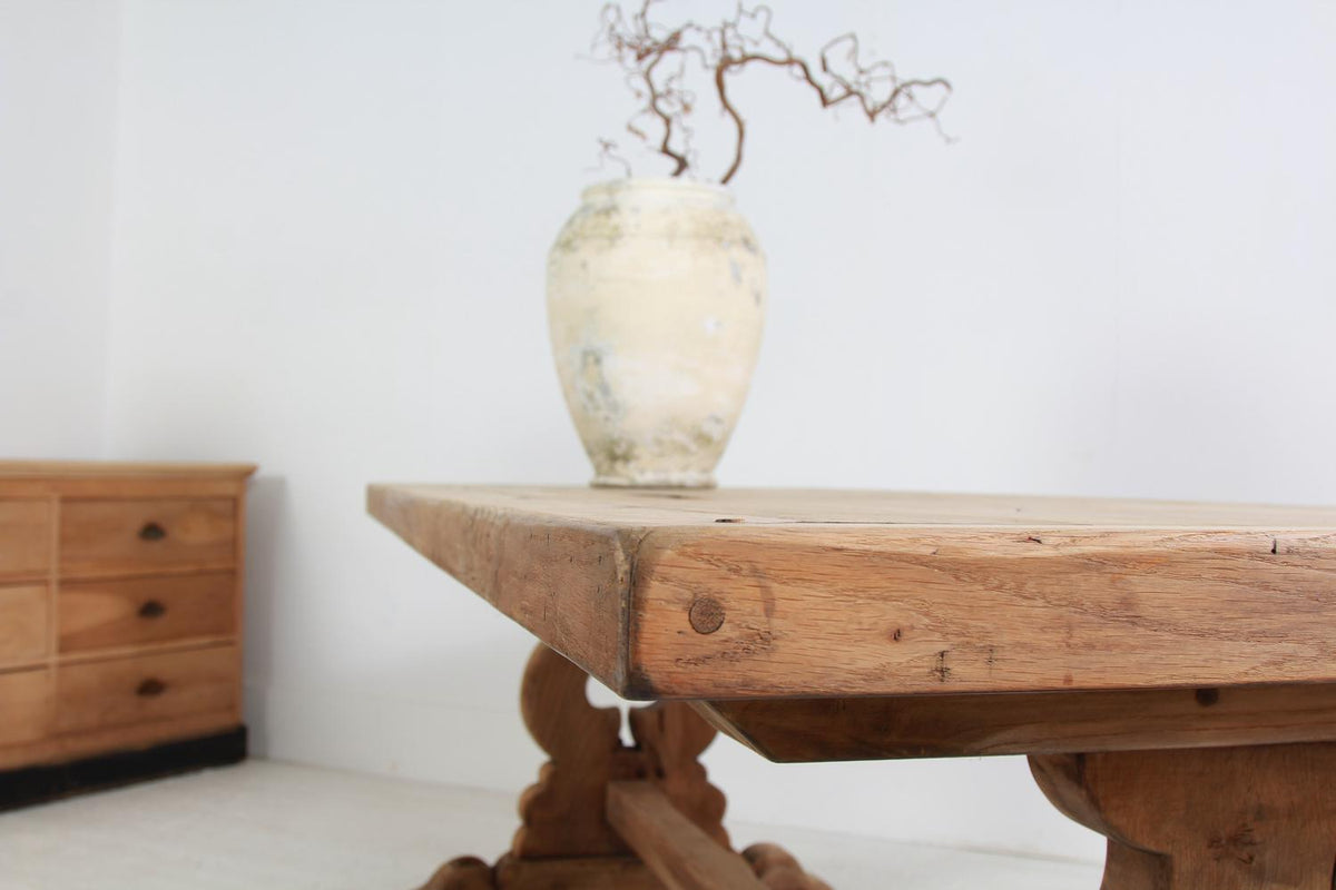 French 20thC  Grand Scale Bleached Oak Dining  Table
