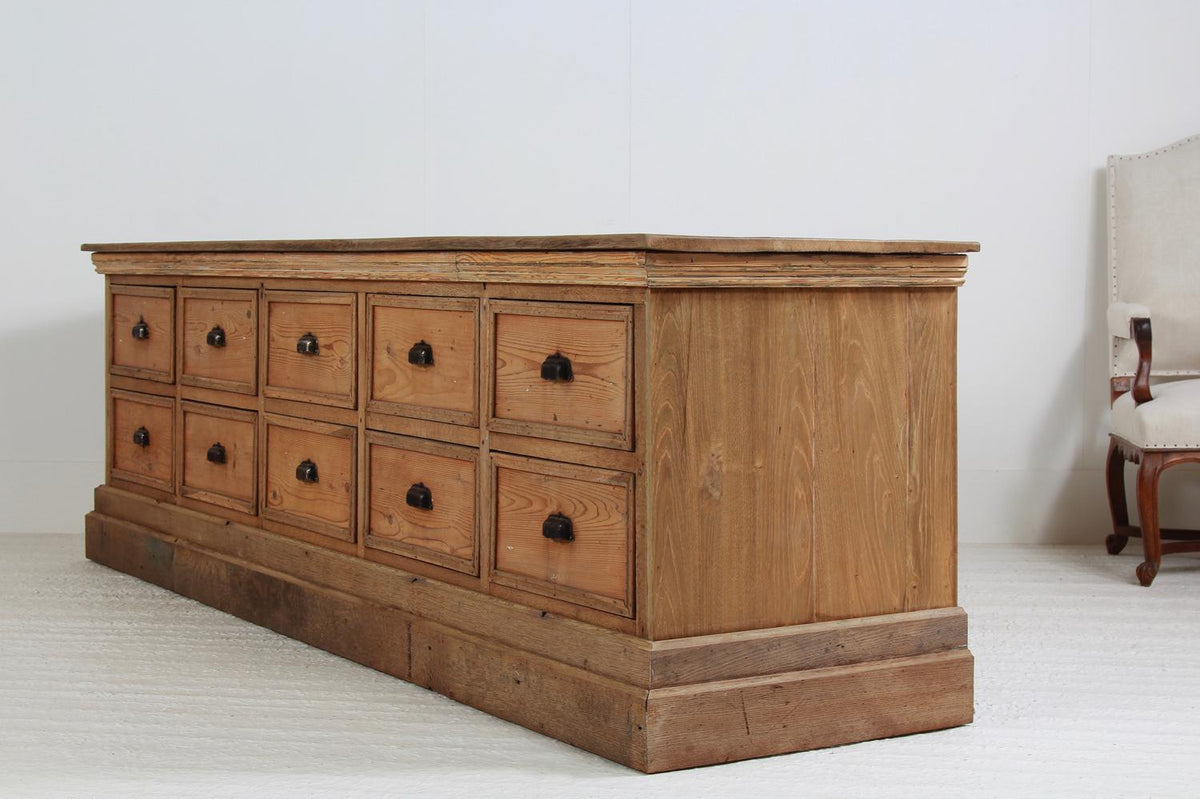 Huge French 19thC Haberdashery Bank of Drawers