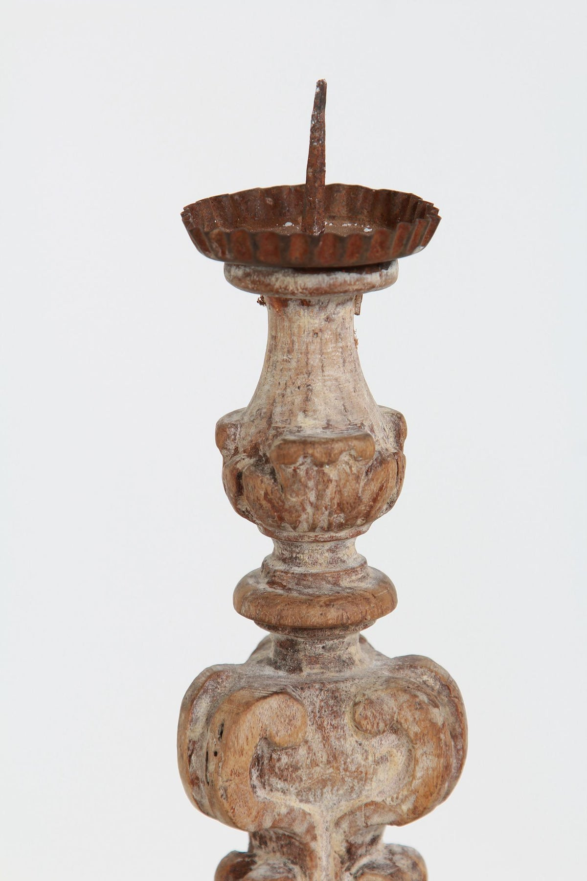 Petite Hand Carved Italian 18thC Weathered Lime Wood Pricket Candlestick