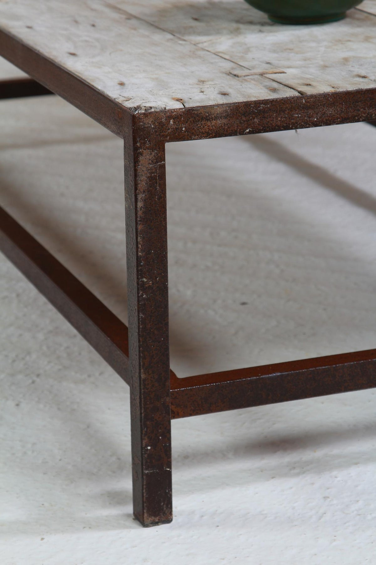 French 19thC Rustic Wood and Metal Coffee Table